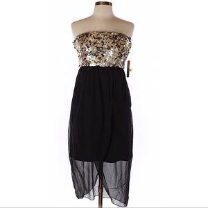 NWT Alice Olivia Dress Gold Pailliette Sequin Prom